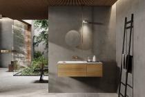 """""""Insa"""" Waschtischunterschrank aus Massivholz 90 cm inkl. Waschtisch aus Corian®   Lapidispa®"""