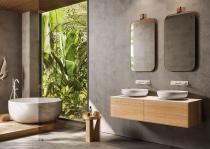 """""""Insa"""" Waschtischunterschrank aus Massivholz mit Deckplatte aus Corian®   Lapidispa®"""